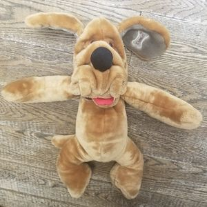 Wrinkles 1980s Plush Hand Puppet Brown Dog